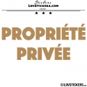 2 Sticker PROPRIÉTÉ PRIVÉE - Lot de 2 - Lettrage à coller