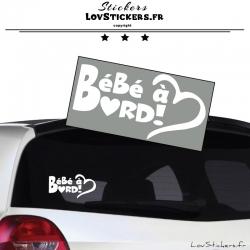 Sticker Bébé à Bord Cœur Blanc