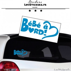 Sticker Bébé à Bord Cœur Bleu Ciel
