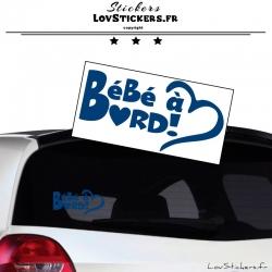 Sticker Bébé à Bord Cœur Bleu Gentiane