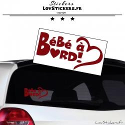 Sticker Bébé à Bord Cœur Bordeaux