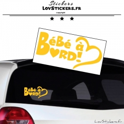Sticker Bébé à Bord Cœur Jaune