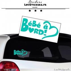 Sticker Bébé à Bord Cœur Menthe