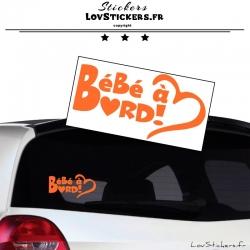 Sticker Bébé à Bord Cœur Orange