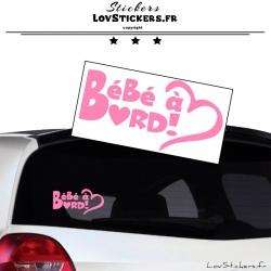 Sticker Bébé à Bord Cœur Rose Clair