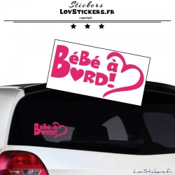 Sticker Bébé à Bord Cœur Rose Fushia