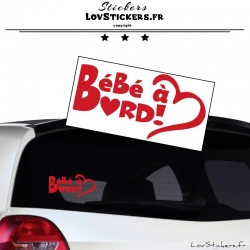 Sticker Bébé à Bord Cœur Rouge