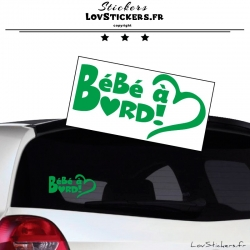 Sticker Bébé à Bord Cœur Vert Clair