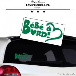 Sticker Bébé à Bord Cœur Vert