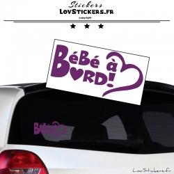 Sticker Bébé à Bord Cœur Violet