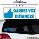 Sticker Prevention Voiture - GARDEZ VOS DISTANCES ! avec pouce