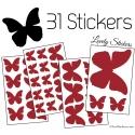 31 Stickers Papillons 10 à 2 cm