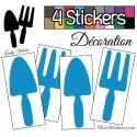 4 Stickers Pelles et Râteaux Jardinage 14 cm