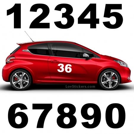 2 Numeros - Font 001 - Nombre adhesif Racing Auto Moto Quad