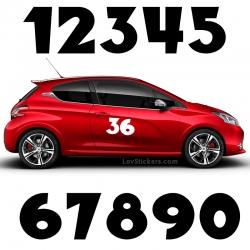 2 Numeros - Font 002 - Nombre adhesif Racing Auto Moto Quad