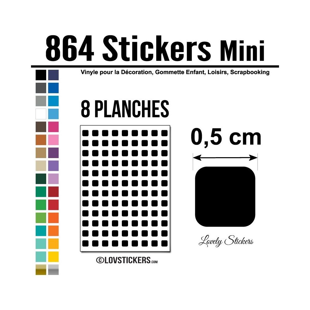 864 Carrés 0,5cm - Gommette Deco - Repositionnable