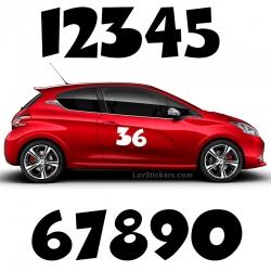 2 Numeros - Font 003 - Nombre adhesif Racing Auto Moto Quad