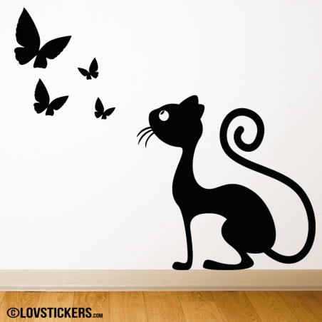 Sticker d'un chat observant des papillons