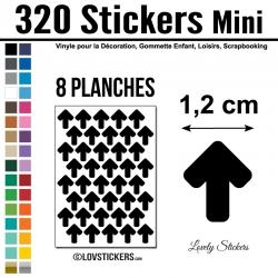 320 Flèches 1,2 cm - Gommette Deco - Repositionnable