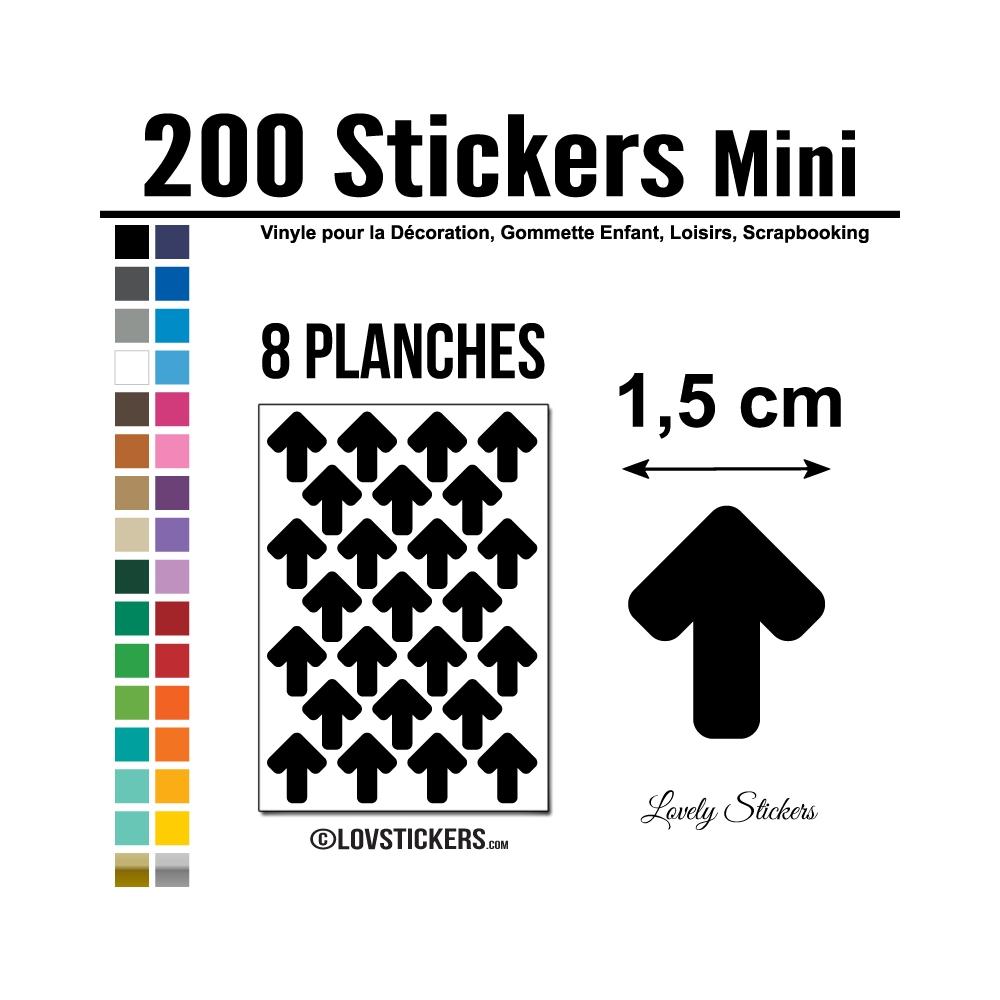 200 Flèches 1,5 cm - Gommette Deco - Repositionnable
