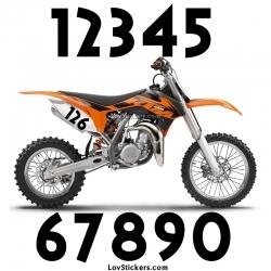 2 Numeros - Font 007 - Nombre adhesif Racing Moto Quad VTT
