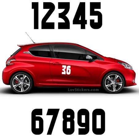 2 Numeros - Font 004 - Nombre adhesif Racing Auto Moto Quad