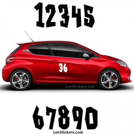 2 Numeros - Font 006 - Nombre adhesif Racing Auto Moto Quad