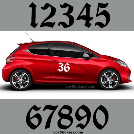 2 Numeros - Font 008 - Nombre adhesif Racing Auto Moto Quad