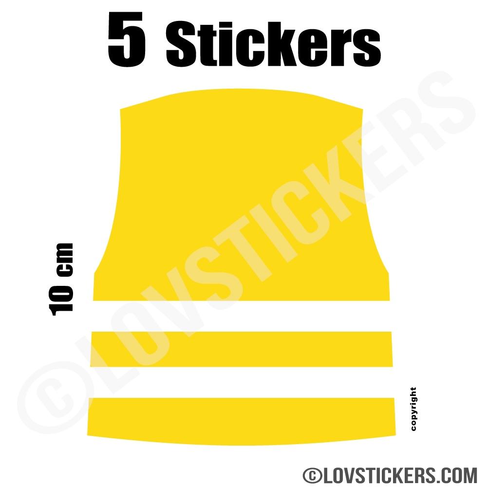 5 Stickers Gilet Jaune 10 cm - Autocollant Logo Gilet Jaune