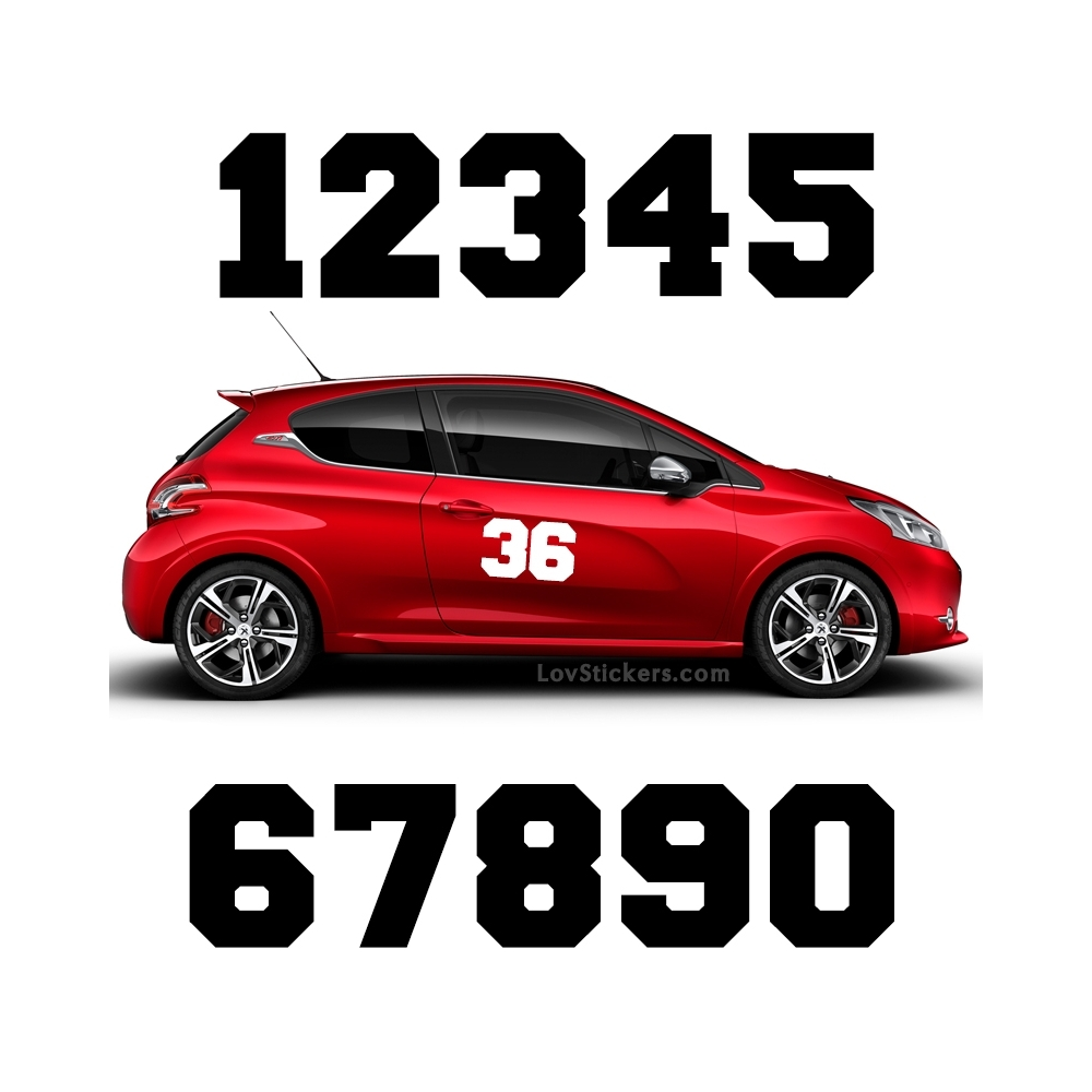 2 Numeros - Font 009 - Nombre adhesif Racing Auto Moto Quad