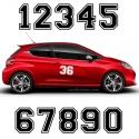 2 Numeros - Font 010 - Nombre adhesif Racing Auto Moto Quad