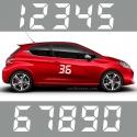 2 Numeros - Font 011 - Nombre adhesif Racing Auto Moto Quad