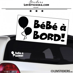 Sticker Bébé à Bord avec Ballon - Sécurité enfant voiture