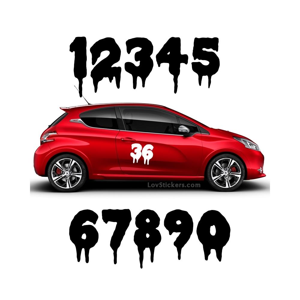 2 Numeros - Font 012 - Nombre adhesif Racing Auto Moto Quad