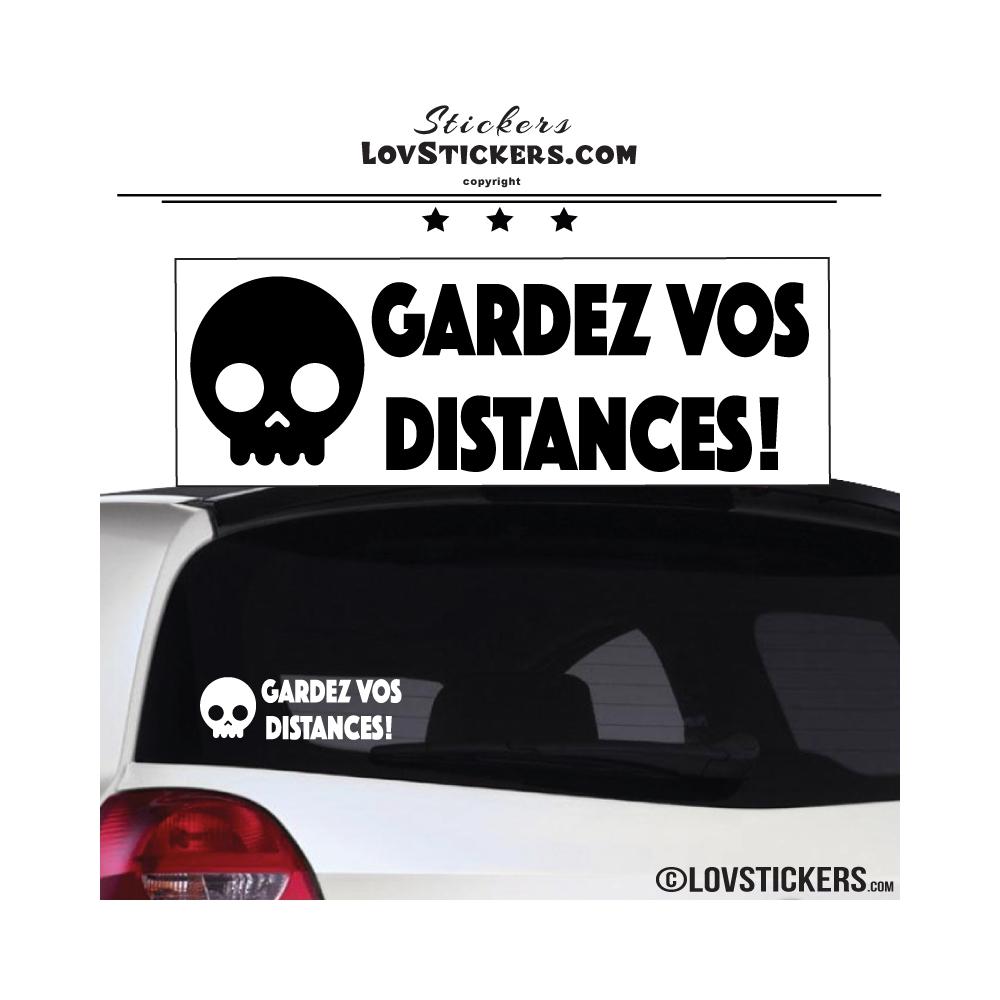 Sticker GARDEZ VOS DISTANCES ! avec Tête de Mort