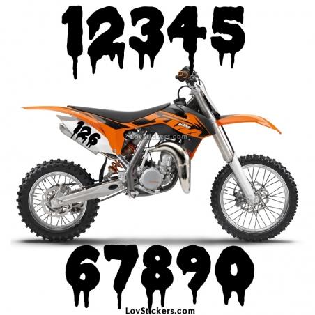 2 Numeros - Font 012 - Nombre adhesif Racing Moto Quad VTT
