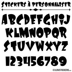 Stickers Font Laffy - Stickers lettres et chiffres adhesif - Autocollant voiture auto vitrine magasin