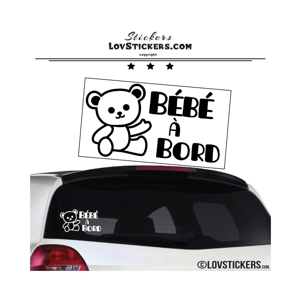Sticker bébé à bord avec ourson
