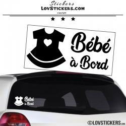 Sticker noir bébé à bord