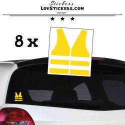 8 Stickers Gilet Jaune 8 cm - Autocollant Logo Gilet Jaune