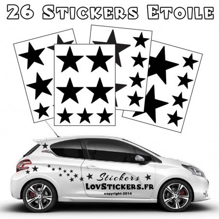 26 Stickers Etoiles Mixte - No1 - Deco auto voiture étoiles