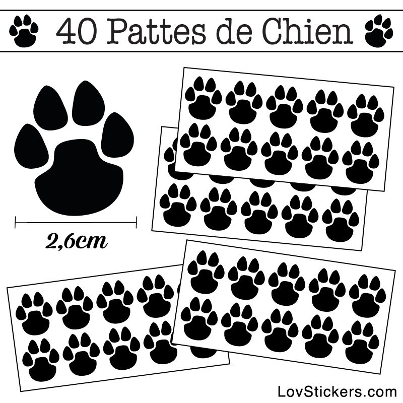 Stickers Pattes de Chien lot de 40 en 26 mm noir