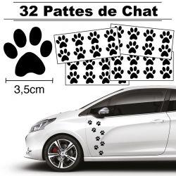 32 Stickers de Pattes de Chat largeur 35mm noir