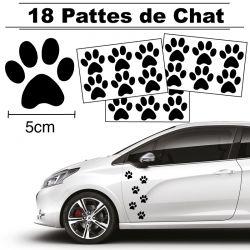 18 autocollants de Pattes de Chat en largeur 50mm et couleur noit
