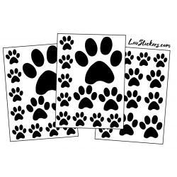 mix de 36 Stickers Pattes de Chat en taille de 3 à 10 cm noir