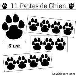 Stickers Pattes de Chien 50mm en lot de 11 noir