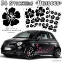 Hibiscus stickers deco pour voiture