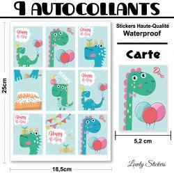 9 cartes autocollantes série Dinosaures