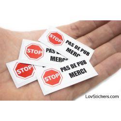 Stickers Stop Pub 5 cm - Lot de 4 - Panneau Stop - Autocollant boite aux lettres