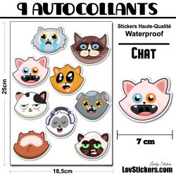 9 stickers têtes de chats